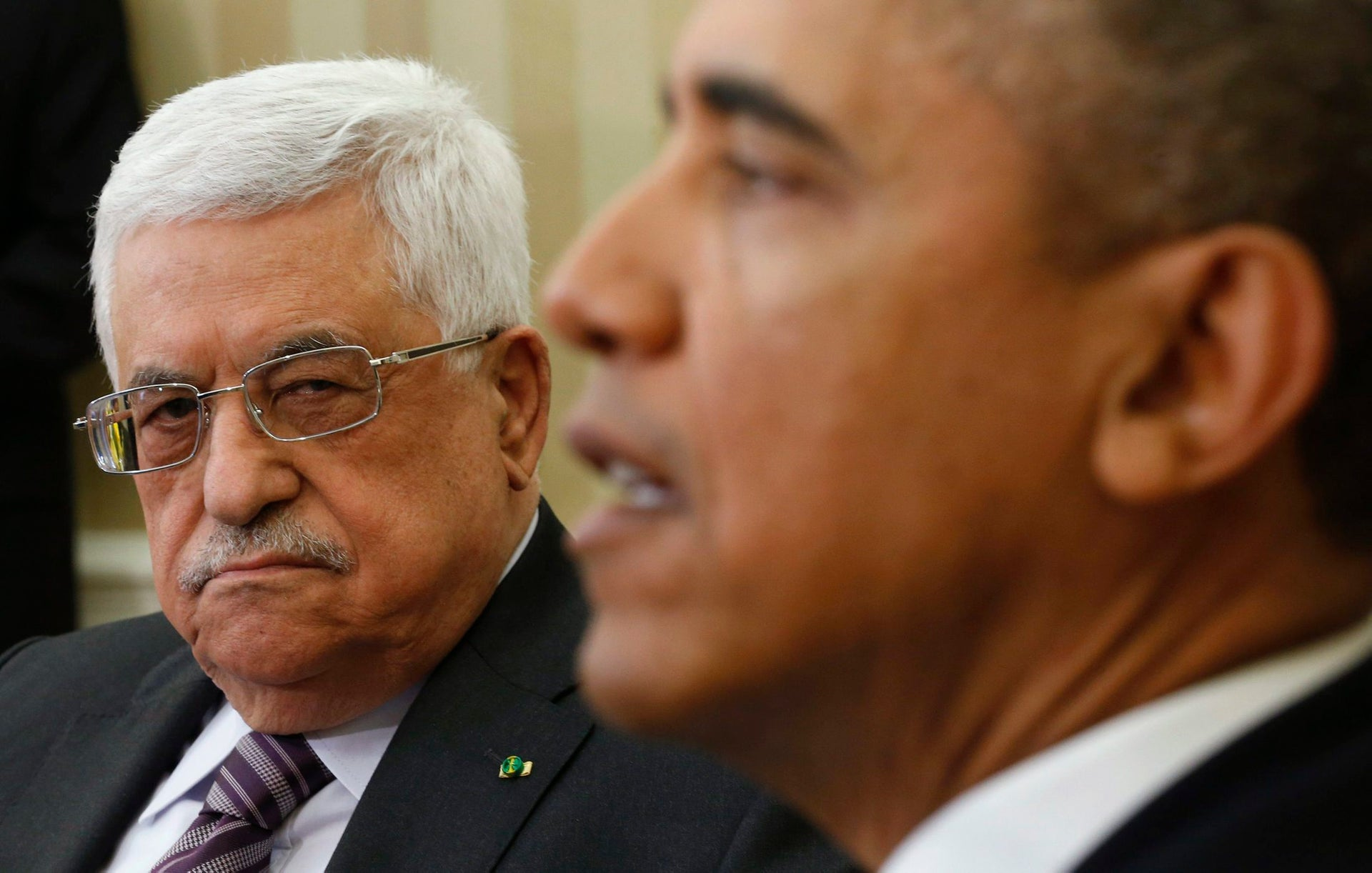 Palestinian Authority President Mahmoud Abbas meeting with then-U.S. President Barack Obama at the White House in Washington, March 17, 2014.