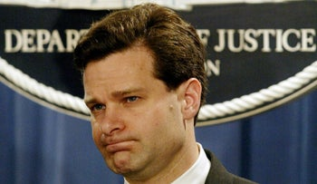 Then-Assistant U.S. Attorney General Christopher Wray during a press conference at the Justice Department in Washington, U.S., November 4, 2003.