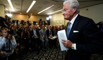Marc Kasowitz, Donald Trump's personal attorney, leaves a packed room at the National Press Club in Washington after delivering a statement following the congressional testimony of former FBI Director James Comey, June 8, 2017
