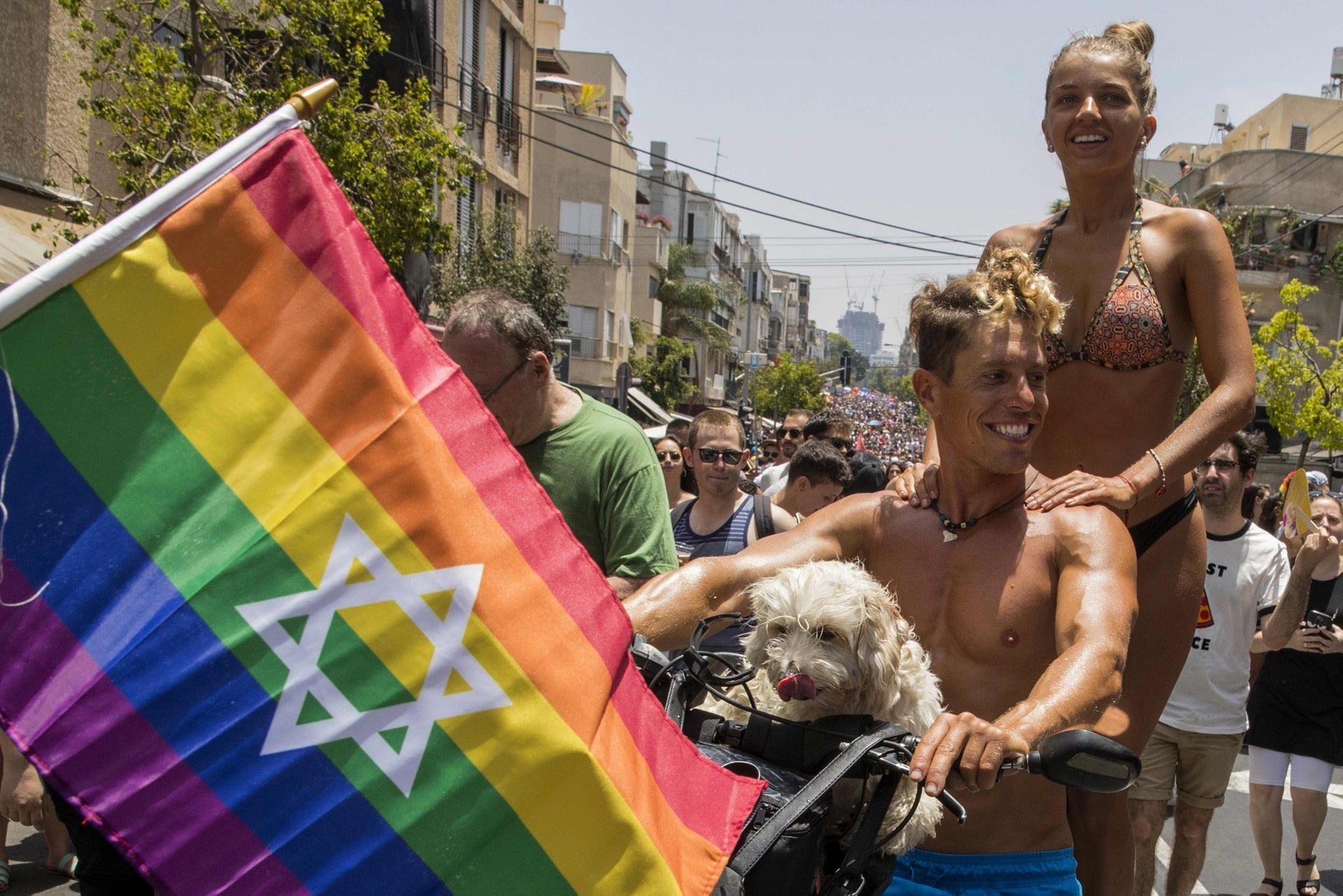 Revelers partaking in Tel Aviv's pride parade, June 9, 2017.