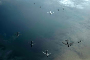 Formation of B-52, B-1s, fighters and support aircraft during the annual BALTOPS exercise, June 7, 2017.
