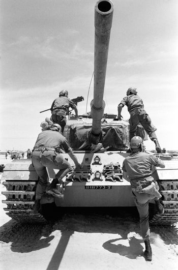 The Israeli army in the desert during the Six-Day War, June 1967.