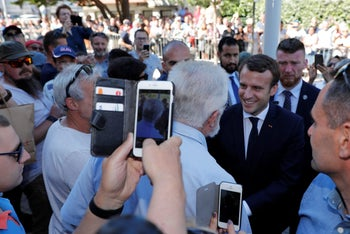 French President Emmanuel Macron arriving in Le Touquet, France, on the eve of the first round of the parliamentary election, June 10, 2017.