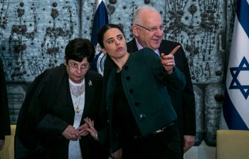 Justice Minister Shaked (C) and Chief Justice Naor (L), and President Rivlin