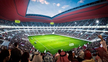 A simulation of a World Cup soccer match in Qatar in 2022.
