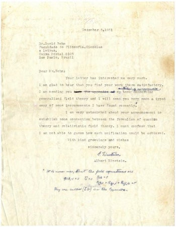 This photo provided by Winner's Auction House shows a letter of Albert Einstein to Professor David Bohm from 1954.