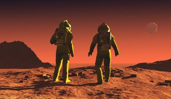 Mars (illustration. This picture shows two astronauts ostensibly standing on Martian soil, with a steep unearthlike-hill to their left and an extremely rugged unearthlike moon in the red sky).