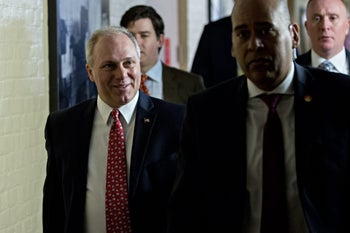 House Majority Whip Steve Scalise, a Republican from Louisiana, left, walks to a House Republican conference meeting at the U.S. Capitol in Washington, D.C., U.S., on Thursday, May 4, 2017