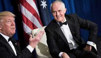 A file photo taken on May 4, 2017, shows Australia's Prime Minister Malcolm Turnbull (R) listening as U.S. President Donald Trump makes a statement to the press in New York, New York.