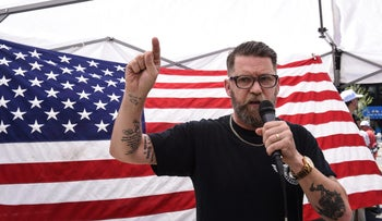 Gavin McInnes speaking at the 'March Against Sharia,' New York, June 10, 2017.