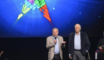 Tim Rice, right, with Andrew Lloyd Webber in 2014.