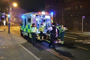 Emergency services are seen near Finsbury Park as British police say there are casualties after reports of a vehicle colliding with pedestrians in North London, Britain June 19, 2017.