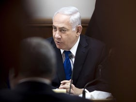 Prime Minister Benjamin Netanyahu attends the weekly cabinet meeting at his office in Jerusalem on June 18, 2017.