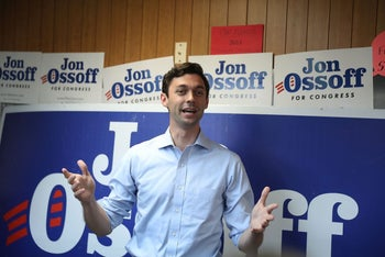 Democratic candidate Jon Ossoff speaking at a campaign office in Chamblee, Georgia, as he runs for Georgia's 6th Congressional District, June 18, 2017.