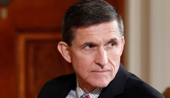 On Feb. 10, 2017, then-National Security Adviser Michael Flynn sits in the East Room of the White House in Washington.