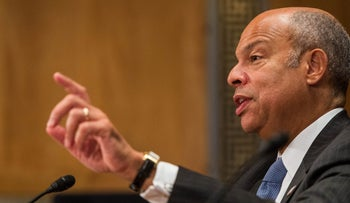 Jeh Johnson, U.S. secretary of Homeland Security (DHS), speaks during a Senate Homeland Security and Governmental Affairs Committee hearing in Washington, D.C., on Tuesday, Sept. 27, 2016.