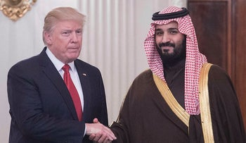 US President Donald Trump and Saudi Deputy Crown Prince and Defense Minister Mohammed bin Salman in the State Dining Room before lunch at the White House