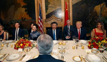 U.S. President Donald Trump, first lady Melania Trump, Ivanka Trump and Jared Kushner are seated for dinner with Chinese President Xi Jinping and first lady Peng Liyuan at an April summit in Mar-a-Lago.