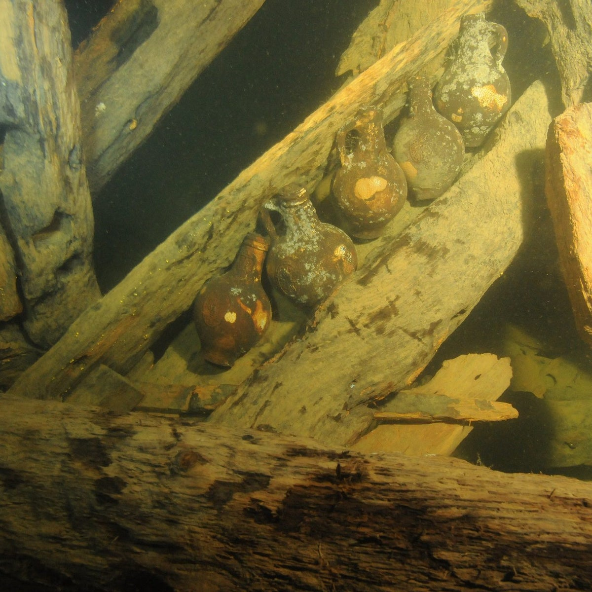 Some of the ships cargo, ceramic bottles, located in the stern.