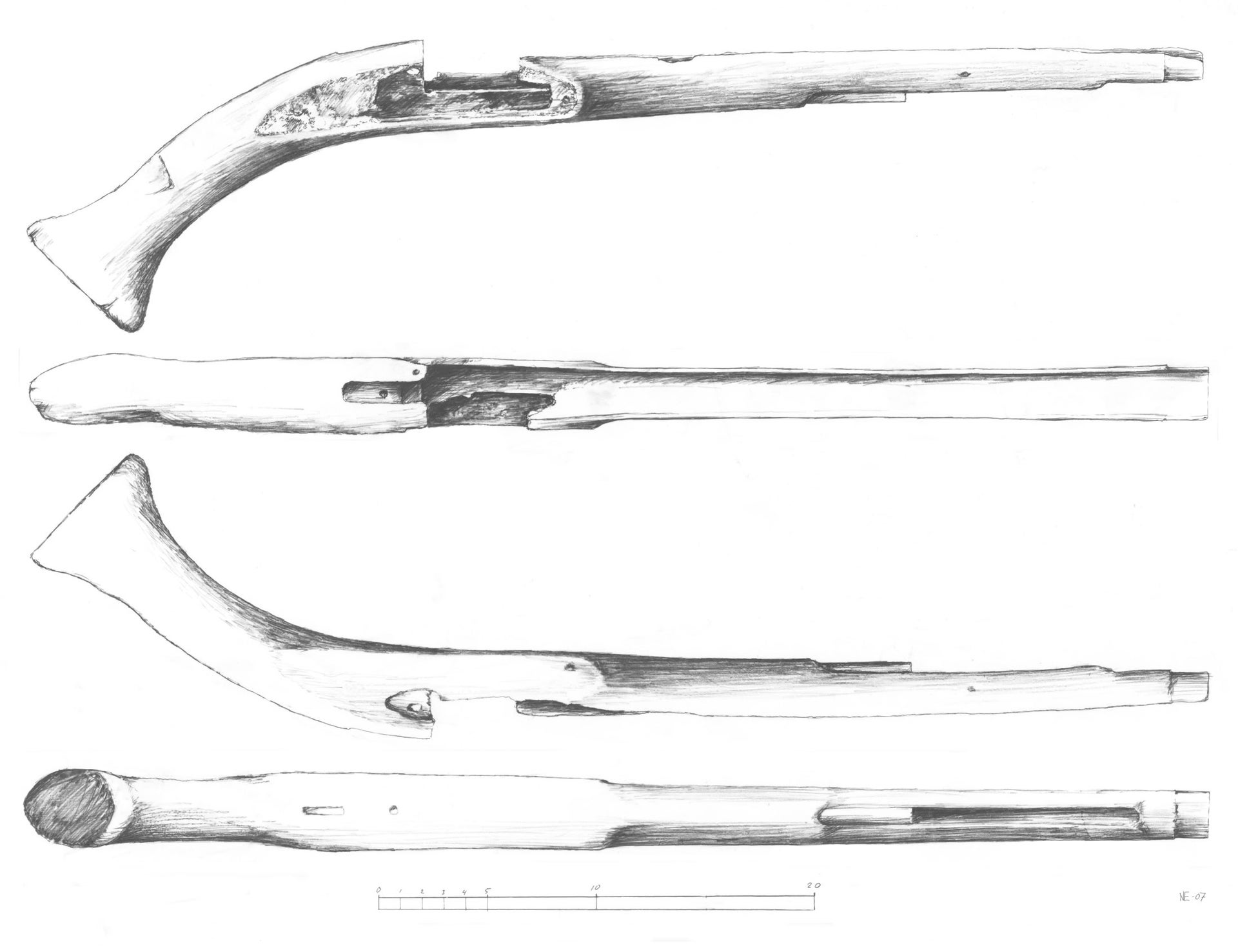 Drawing of flintlock pistol that was recorded and brought back to its original position on the site.