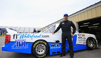 Alon Day at a race in in Loudon, New Hampshire, Sept. 23, 2016, when he had an ADL sticker on his car.