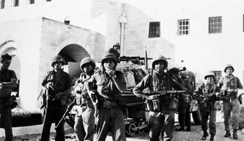 In this June 6, 1967 file photo, Israel Defense Forces troops are seen at Government House in Jerusalem after they had taken over the Jordanian held part of the city following heavy fighting.