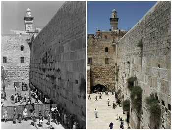 Two pictures showing the evolution of the dividing wall between the male and female sections as worshipers visit the Western Wall in 1967 (left) and 2017.