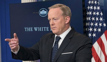 White House spokesman Sean Spicer gestures during a press briefing at the White House in Washington, DC, on June 20, 2017