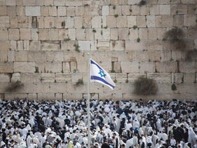 The Passover holiday in front of the Western Wall, the holiest site where Jews can pray in Jerusalem's Old City, Thursday, April 13, 2017.