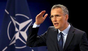 NATO Secretary-General Stoltenberg addresses a news conference in Brussels