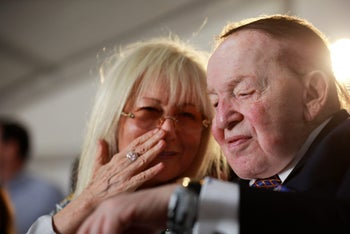 Miriam and Sheldon Adelson, attending the ceremony in Ariel, June 28, 2017.