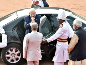 Modi and India could be Israel's greatest ally. Pictured: Israeli President Reuven Rivlin in New Delhi on a 7 day state visit. November 15, 2016