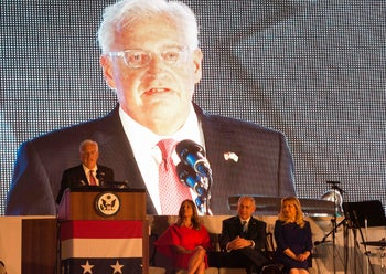 From left, U.S. Ambassador to Israel David Friedman, speaking, with his wife Tammy, Israeli Prime Minister Benjamin Netanyahu and his wife Sara at the U.S. Independence Day celebration in Herzilya, July 3, 2017.