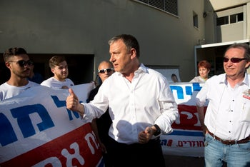 Erel Margalit at the polls with Labor Party members on July 4th, 2017.