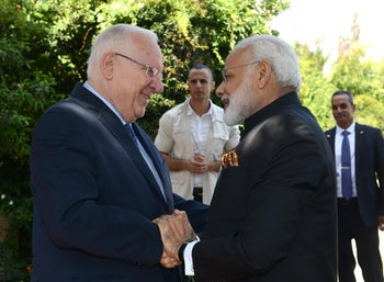 India's Modi meets with President Rivlin in Jerusalem, July 5, 2017.