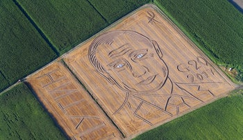 "A giant portrait of Russian President Vladimir Putin appeared in a field in Castagnaro, near the northern Italian city of Verona on Monday, July 3, 2017. Alongside was the caption ""G20 2017"" and the signature of Italian land-artist Dario Gambarin."