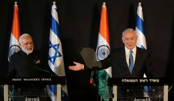 Indian Prime Minister Modi and Israeli Prime Minister Netanyahu in Jerusalem, July 5, 2017.