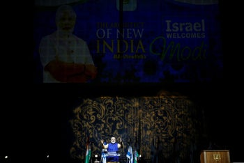 Indian Prime Minister Narendra Modi speaks during a reception for the Indian community in Israel in Tel Aviv on July 5, 2017.