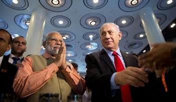 Indian Prime Minister Narendra Modi and Prime Minister Benjamin Netanyahu at an innovation conference with Israeli and Indian CEOs, Tel Aviv, July 6, 2017.