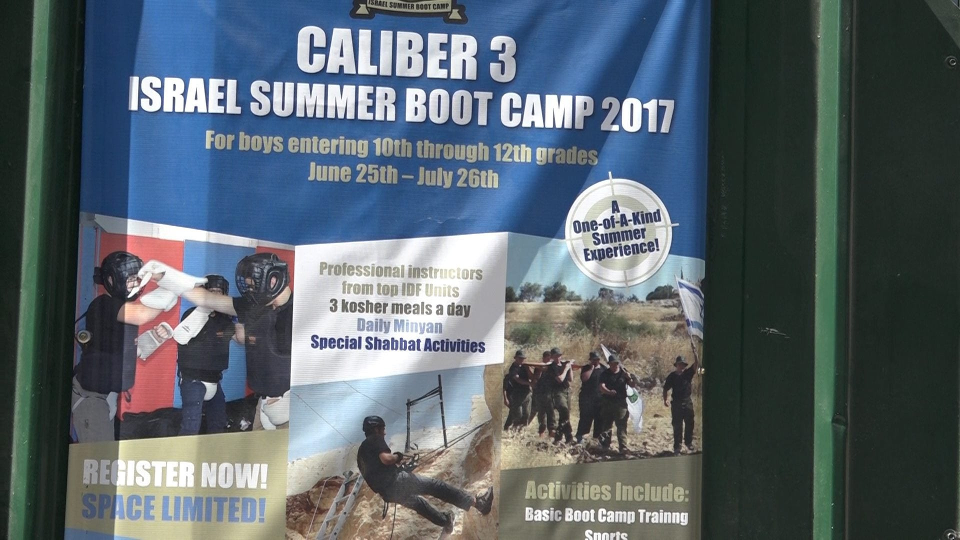 A poster for the Caliber 3 counterterrorism and security training academy, July 2017.