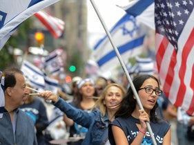 "Participants in the ""Celebrate Israel"" parade along 5th Ave., NYC. June 4, 2017"