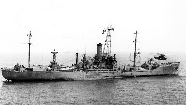 USS Liberty (AGTR-5) receives assistance from units of the Sixth Fleet, after she was attacked and seriously damaged by Israeli forces off the Sinai Peninsula on 8 June 1967