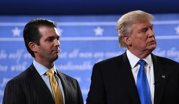 Trump and his son  Donald Trump Jr. after the first presidential debate at Hofstra University in Hempstead, New York, July 2017.