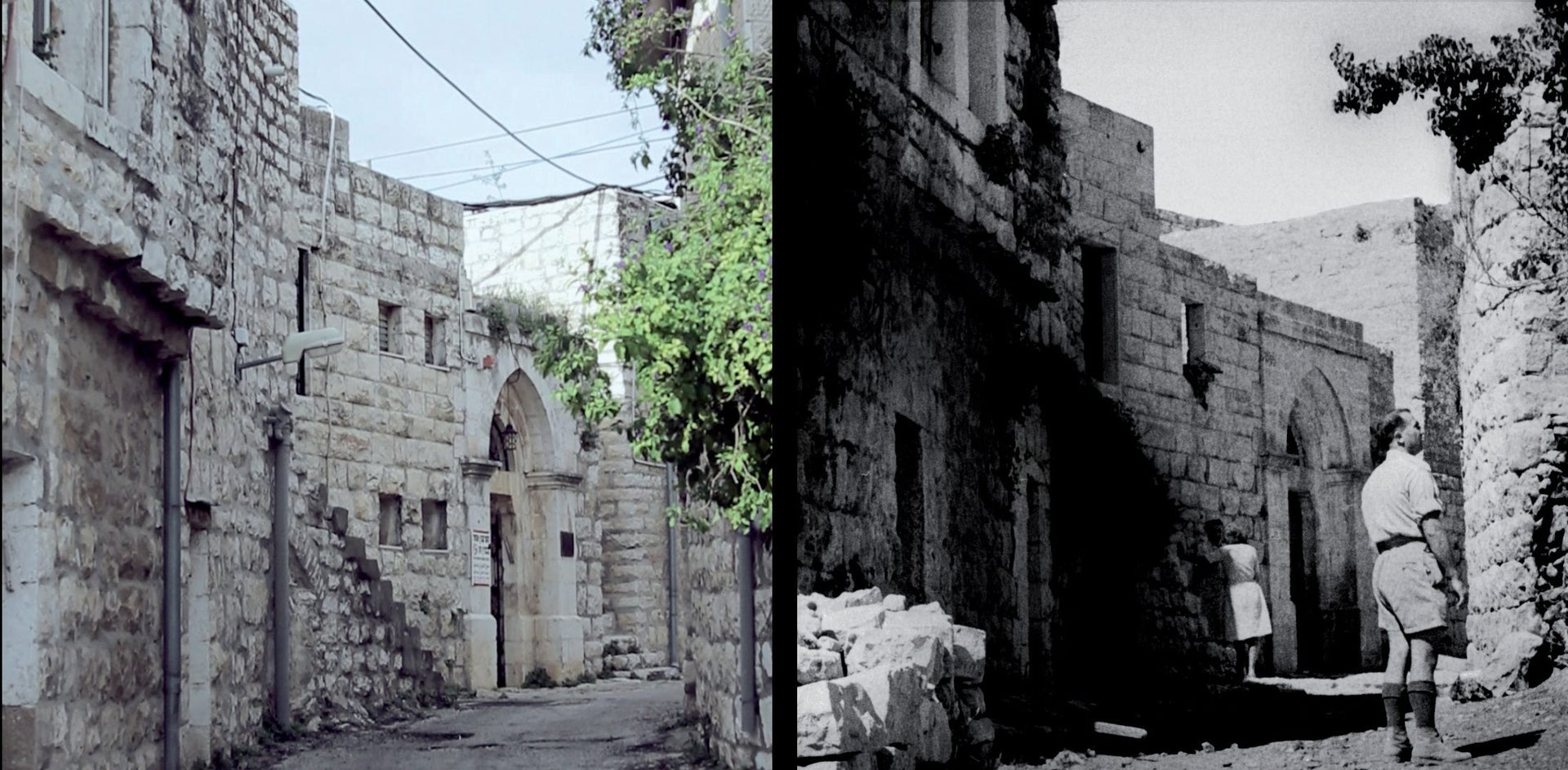 A street in Deir Yassin, today and in 1948. 'Within a few hours, half the village wasn't there any more,' Zettler wrote of the day.
