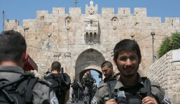 Israel Border Police at the entrance to the Lions Gate in the Old City following the attack on July 14, 2017.