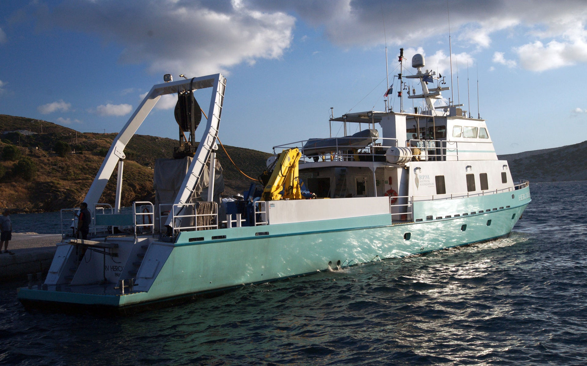 RPM Nautical Foundation's scientific research vessel RV Hercules at port in Fourni.