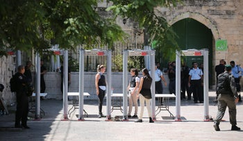 Metal detectors installed at the Temple Mount, July 16, 2017.