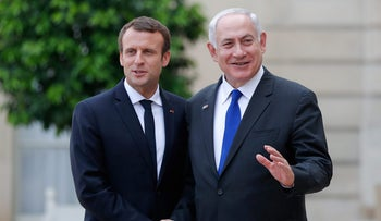 Macron and Netanyahu after their meeting at the Elysee Palace in Paris, France, July 16, 2017.