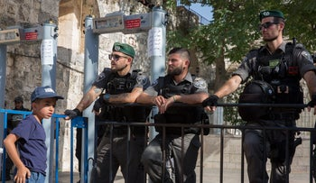 Security forces guard one of the entrances to the Temple Mount in Jerusalem, July 16, 2017.