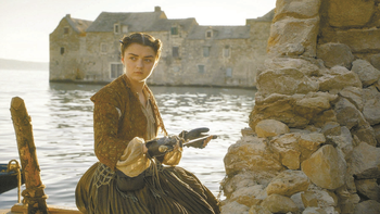 "British actor Maisie Williams as Arya Stark in a scene from ""Game of Thrones""."